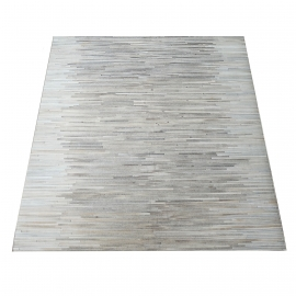 Grey Stripe Design Cowhide Rug