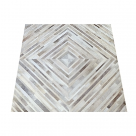 Grey Diamond Design Cowhide Rug