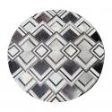 Grey Triangle Design Round Cowhide Rug