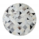 Mixed Square Patch Design Round Cowhide Rug (1.5m)