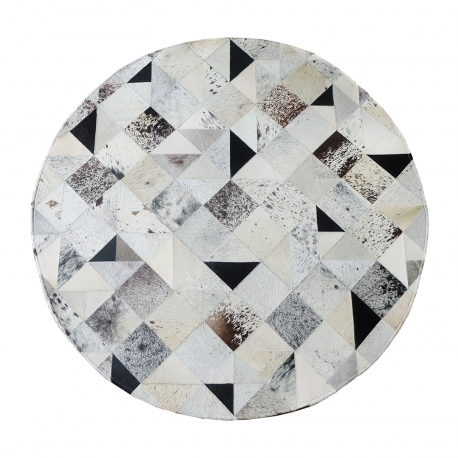 Mixed Square Patch Design Round Cowhide Rug