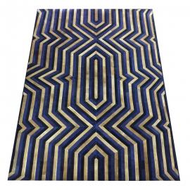 Blue Gold Dyed Echo Design Cowhide Rug (2 x 3m)